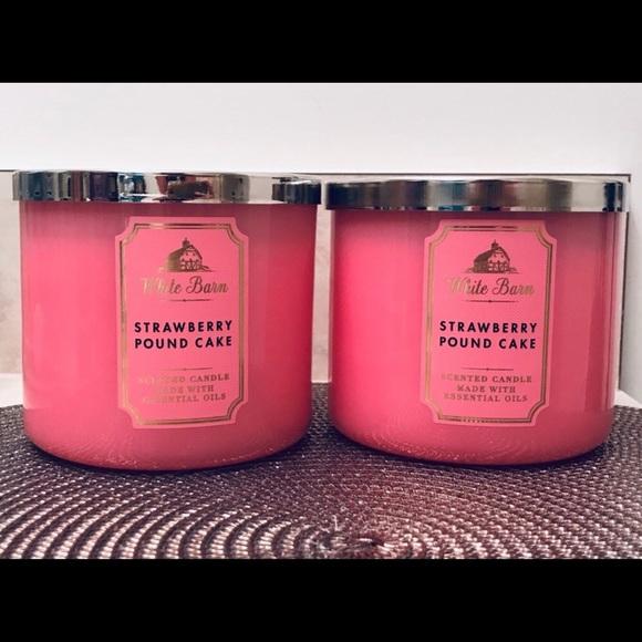NWT BBW Strawberry Pound Cake 3-Wick Candle